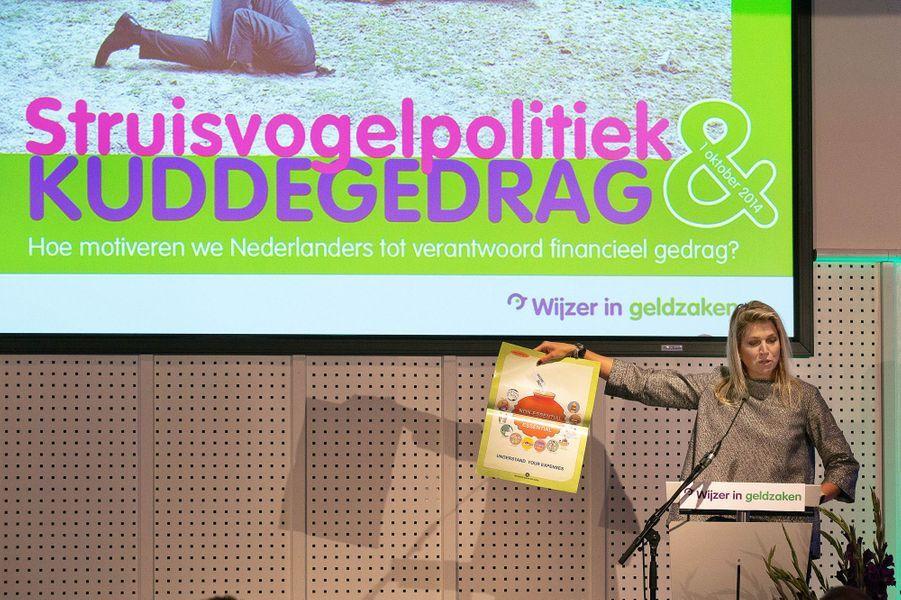 La reine Maxima intervient au Symposium Plateform à Rotterdam, le 1er octobre 2014