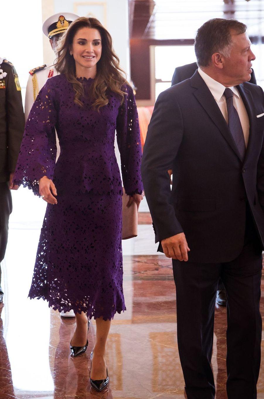 La reine Rania et le roi Abdallah II de Jordanie à Abu Dhabi, le 7 février 2018