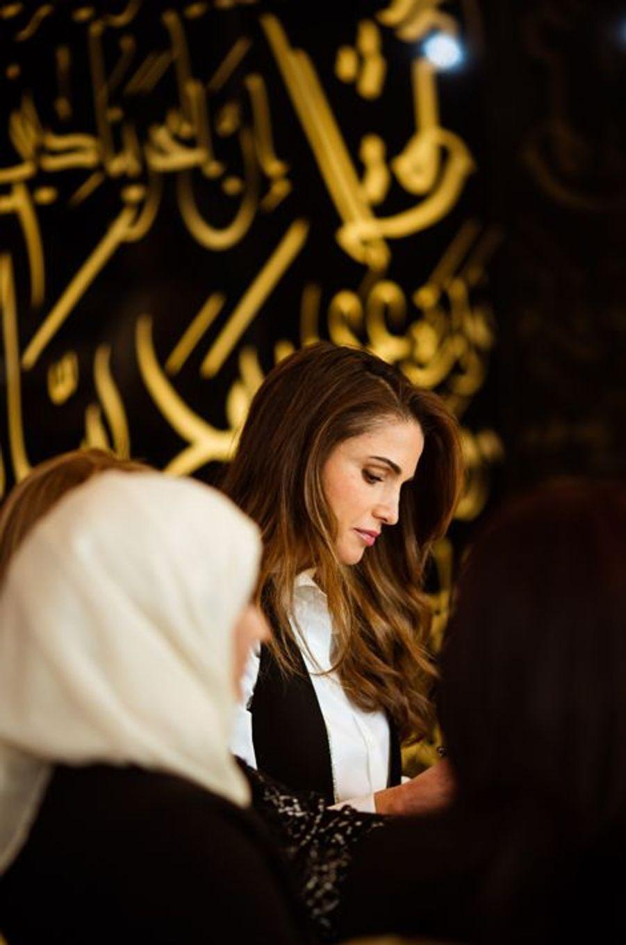 La reine Rania de Jordanie à Amman, le 8 mars 2016