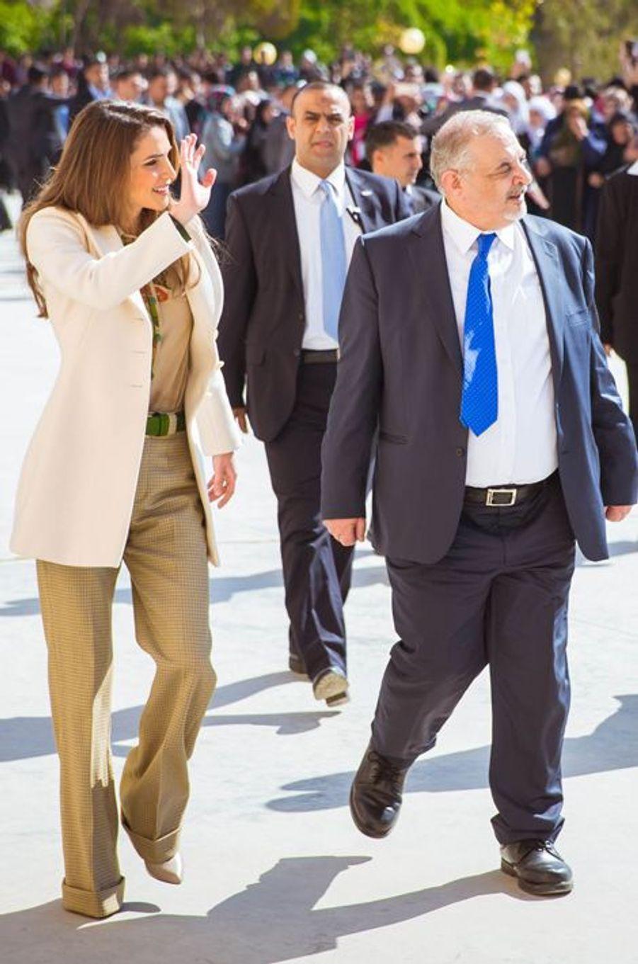 La reine Rania de Jordanie à l'Université hachémite de Zarqa, le 24 février 2016