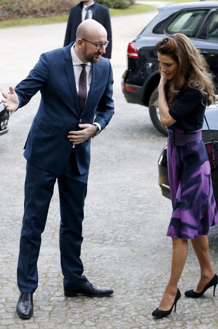 La reine Rania de Jordanie avec le Premier ministre belge à Bruxelles, le 12 janvier 2016