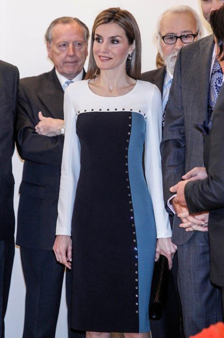 La reine Letizia d'Espagne à Madrid, le 26 février 2015