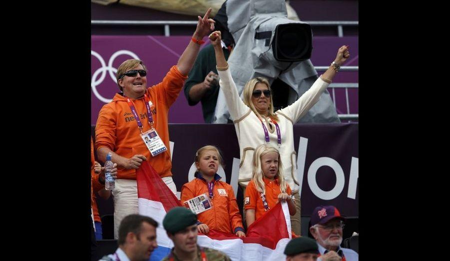 Le prince et son épouse ont soutenu les Pays-Bas contre l'Argentine lors du tour préliminaire féminin de volleyball, le 2 août.