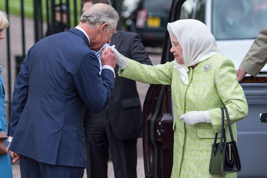 La reine Elizabeth II et le prince Charles à Windsor, le 21 avril 2016