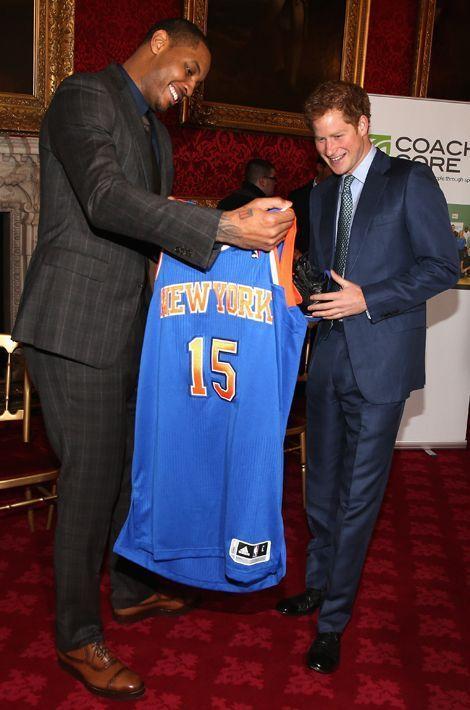 Le prince Harry et Carmelo Anthony à Londres, le 14 janvier 2015