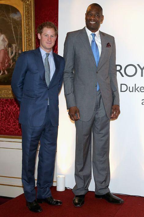 Le prince Harry et Dikembe Mutombo à Londres, le 14 janvier 2015