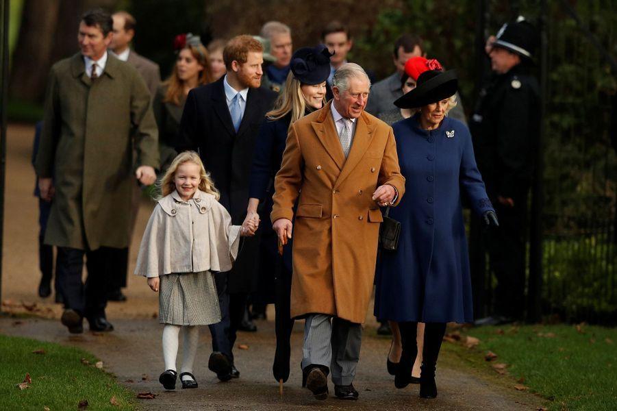 La famille royale britannique à la messe de Noël à Sandringham, le 25 décembre 2016