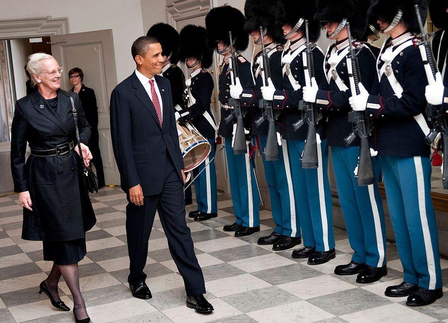 Barack Obama et la reine Margrethe du Danemark au palais de Christiansborg, à Copenhague, en octobre 2009.