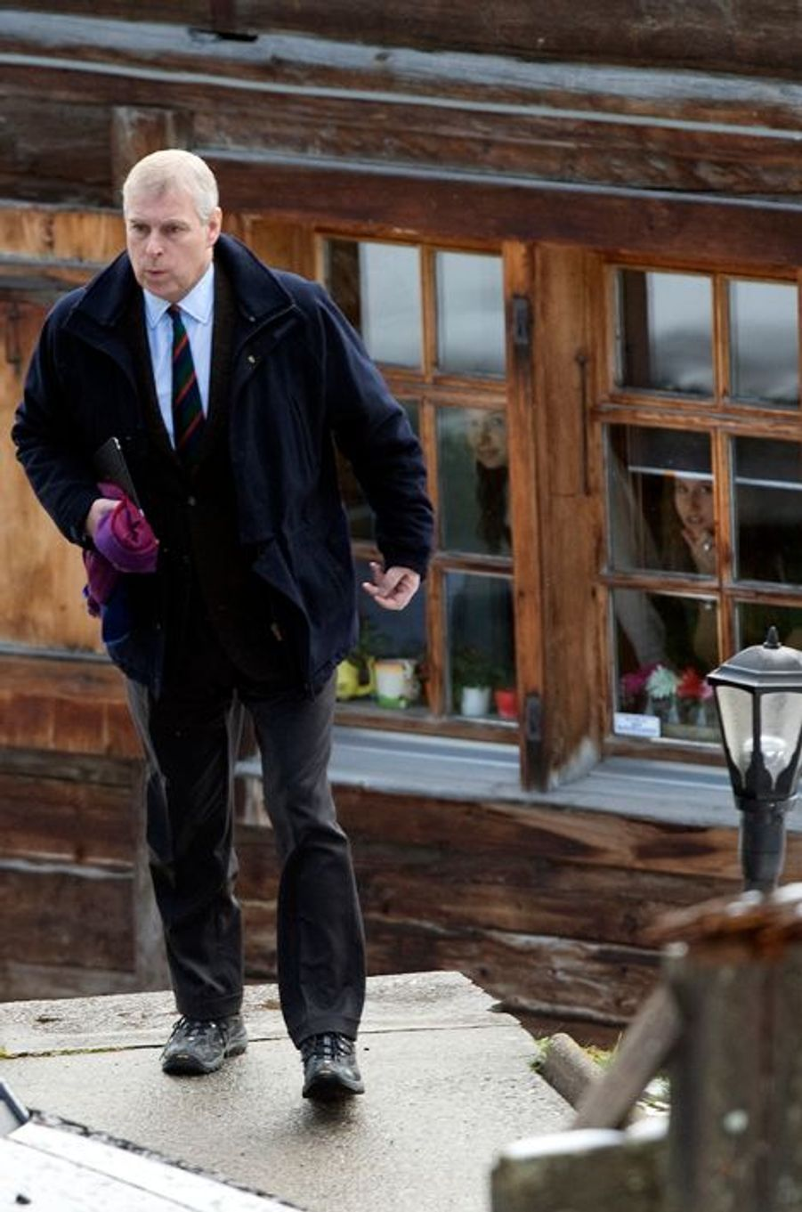 Le prince Andrew à Verbier en Suisse, le 4 janvier 2014