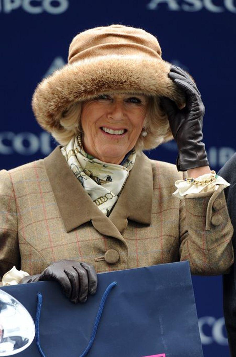 Camilla Parker-Bowles à Ascot, le 29 mars 2015