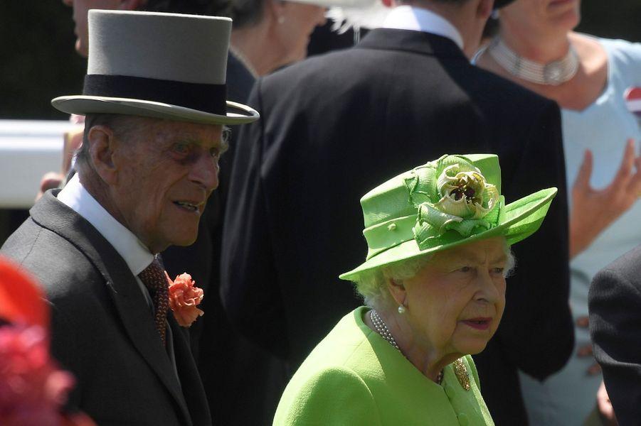 La reine Elizabeth II avec le prince Philip au Royal Ascot, le 20 juin 2017