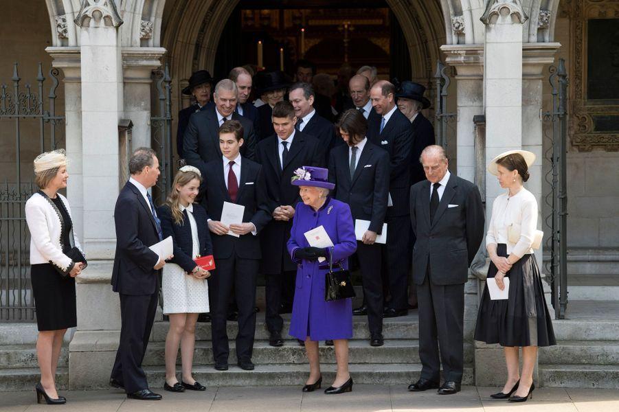 La famille royale britannique à un service religieux pour Antony Armstrong-Jones à Londres, le 7 avril 2017