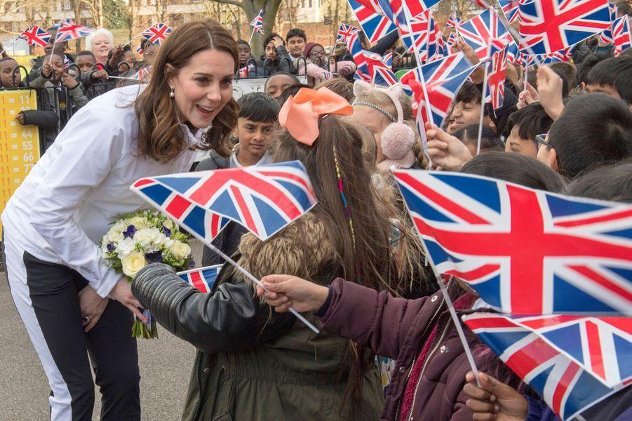 La duchesse de Cambridge dans le quartier de Mitcham à Londres, le 18 janvier 2018