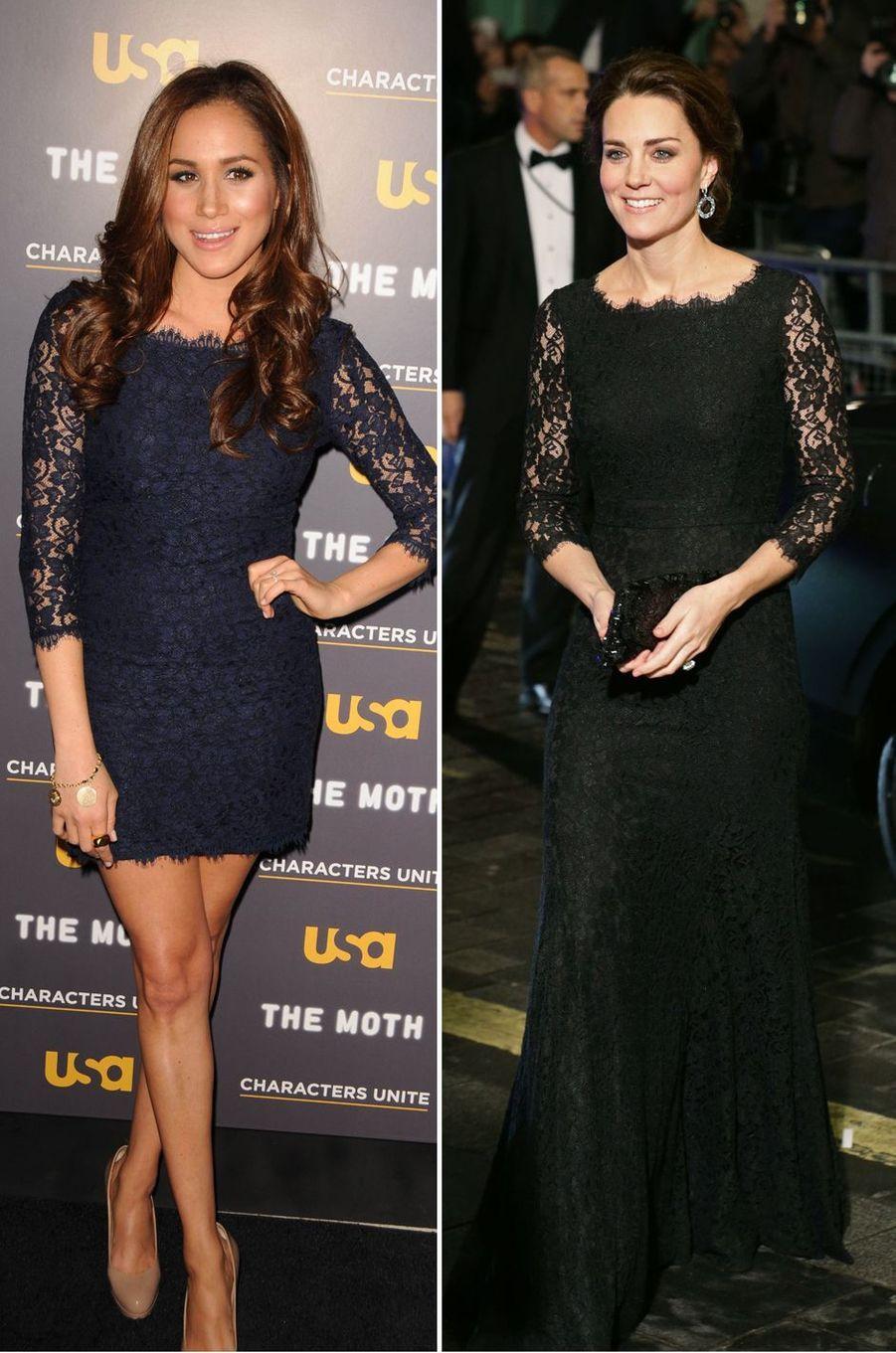 Meghan Markle le 15 février 2012 et Kate Middleton le 13 novembre 2014