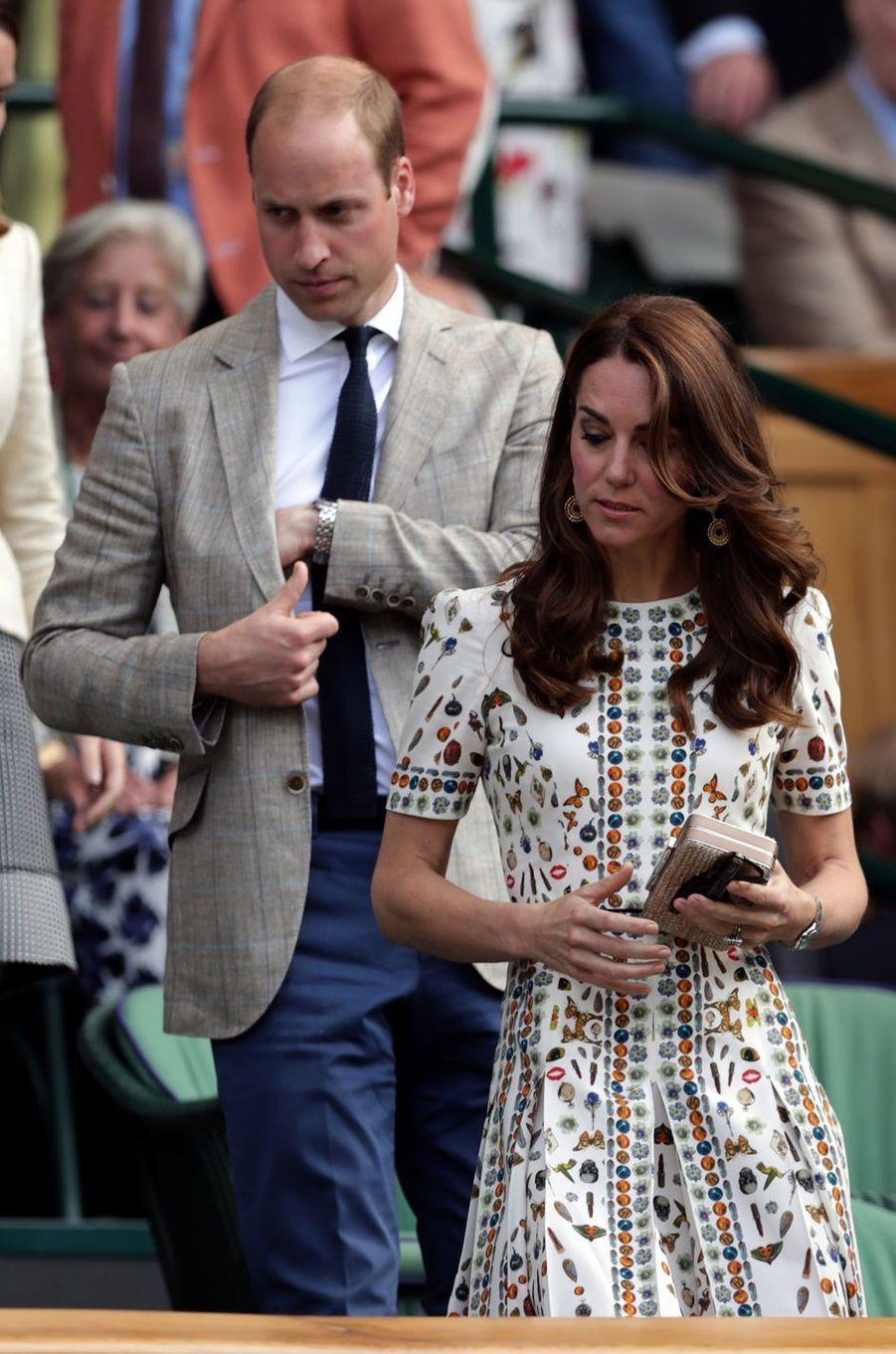 La duchesse Catherine de Cambridge et le prince William à Wimbledon, le 10 juillet 2016