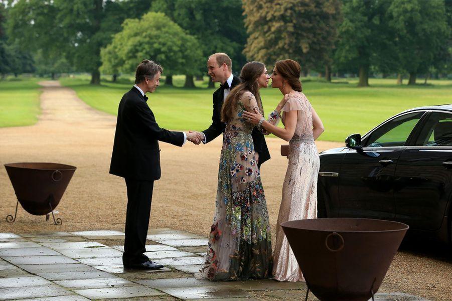 Le prince William et la duchesse Catherine avec le marquis et la marquise de Cholmondeley à Houghton Hall, le 22 juin 2016