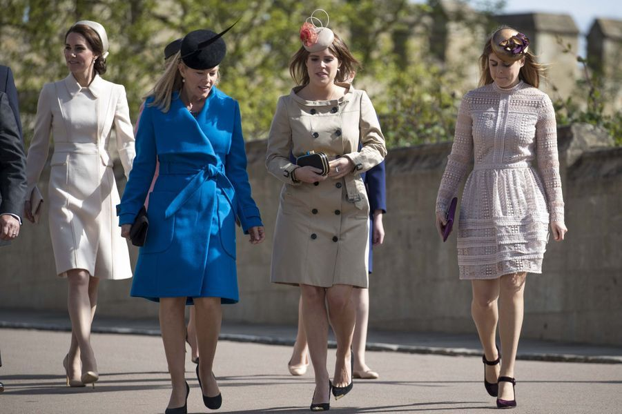 La duchesse de Cambridge, née Kate Middleton, Autumn Phillips, la princesse Eugenie et la princesse Beatrice à Windsor, le 16 avril 2017.