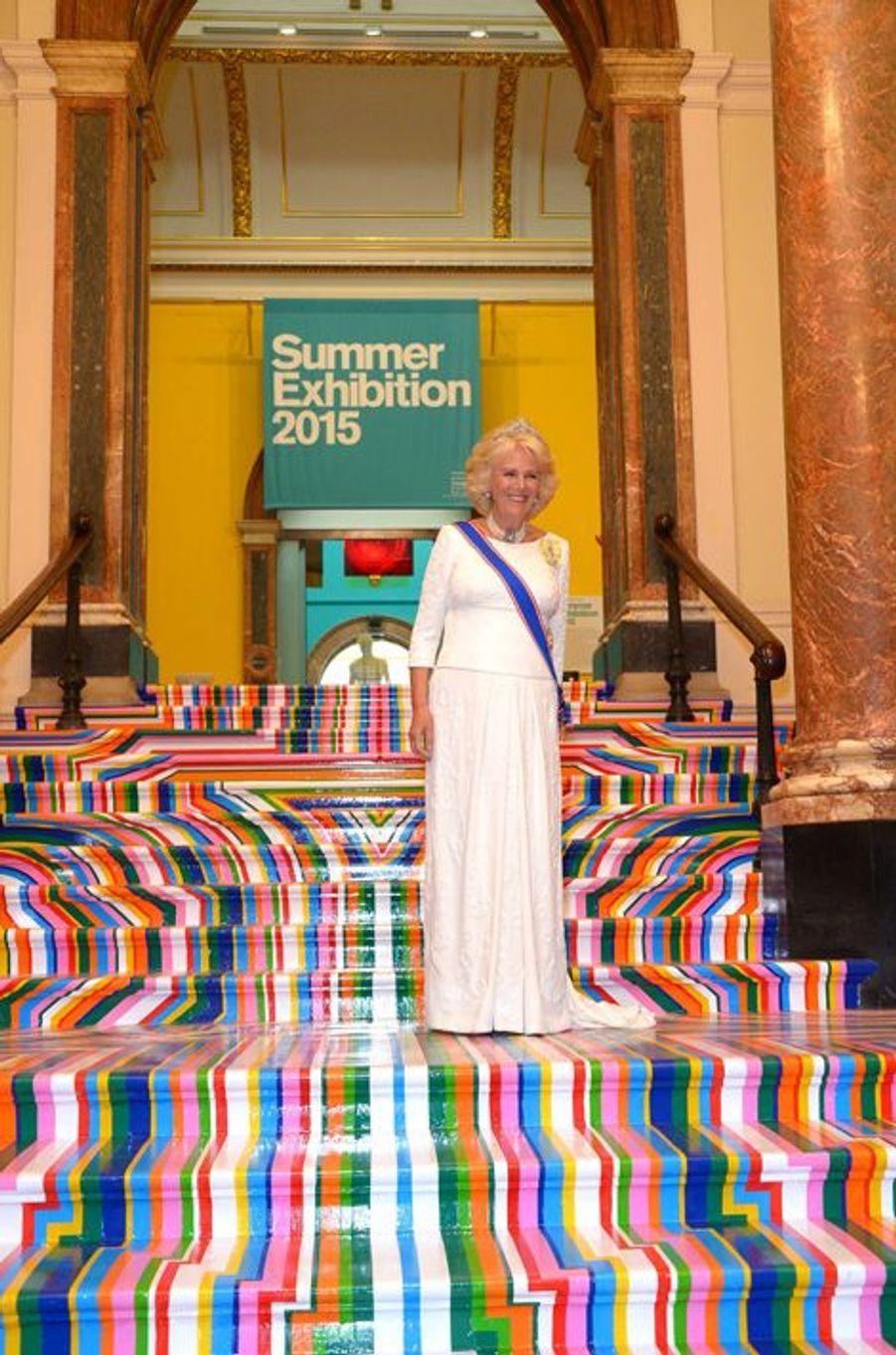 La duchesse de Cornouailles Camilla au dîner de la Royal academy of arts à Londres, le 2 juin 2015