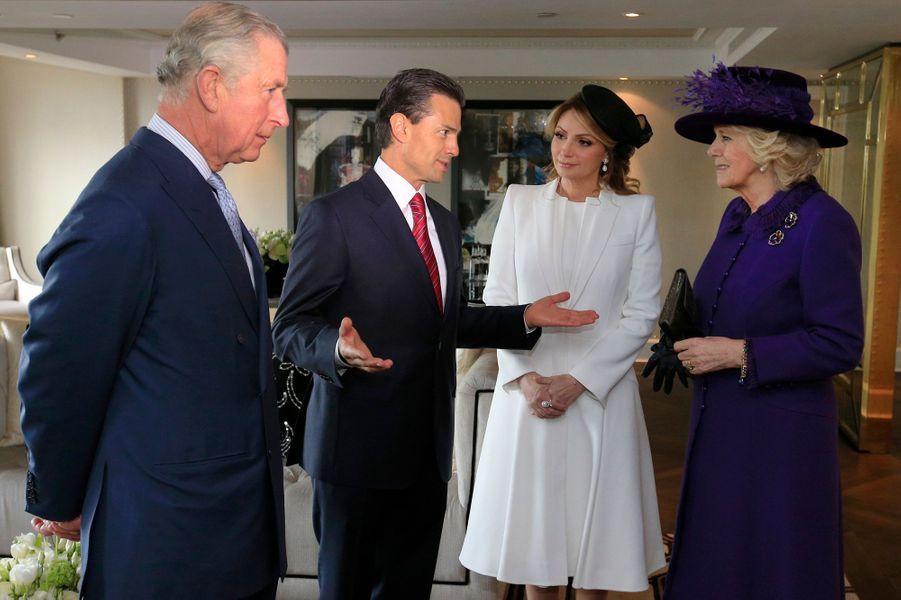 Le prince Charles, Camilla Parker-Bowles avec Enrique Pena Nieto  et sa femme à Londres, le 3 mars 2015