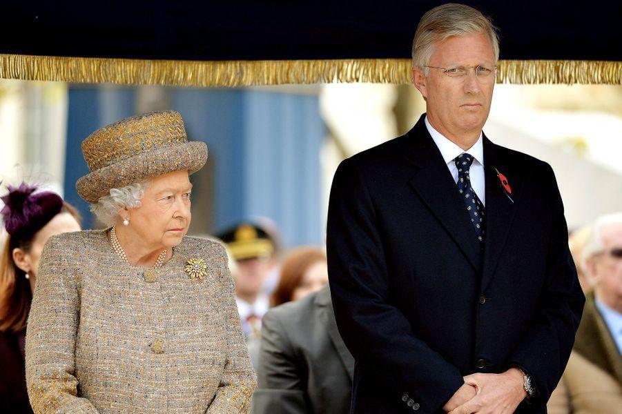 La reine Elizabeth II et le roi Philippe de Belgique à Londres, le 6 novembre 2014