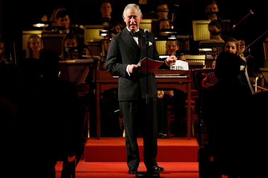 Le prince Charles lors du concert de de l'Opéra d'Australie et du Royal College of Music à Londres, le 22 janvier 2015