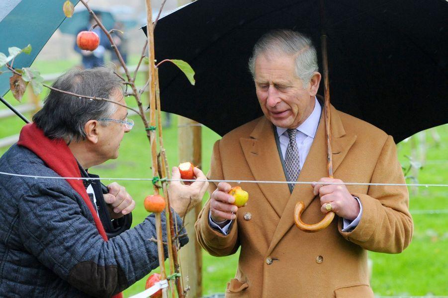 Le prince Charles avec Raymond Blanc dans son jardin de Belmont Le Manoir aux Quat'Saisons à Great Milton, le 21 novembre 2014