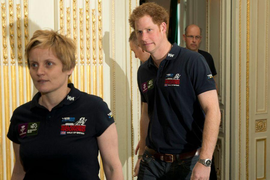 """Le prince Harry lors du lancement du trek """"Walk of Britain"""" à Londres, le 18 mars 2015"""