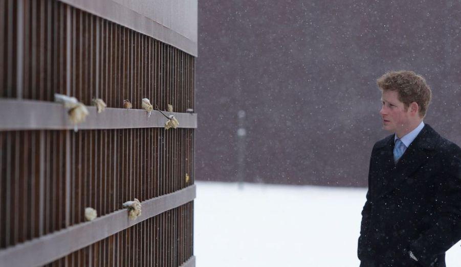 Le Prince Harry affronte la neige et le froid pour une cérémonie donnée devant le mémorial du Mur de Berlin.
