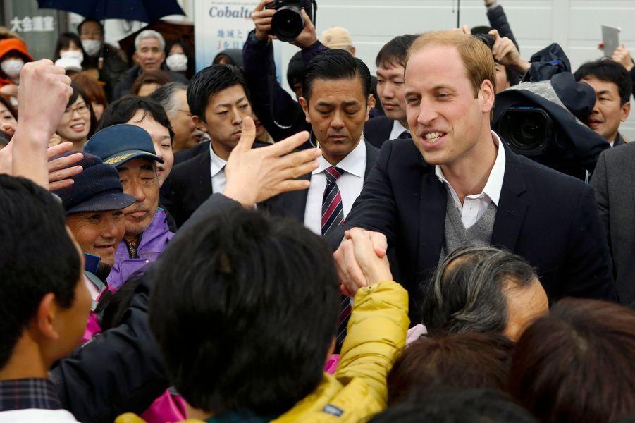 Le prince William à Onagawa, le 1er mars 2015