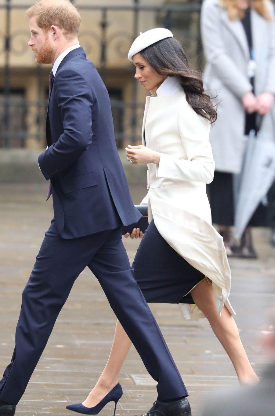 Meghan Markle et son fiancé le prince Harry à Londres, le 12 mars 2018