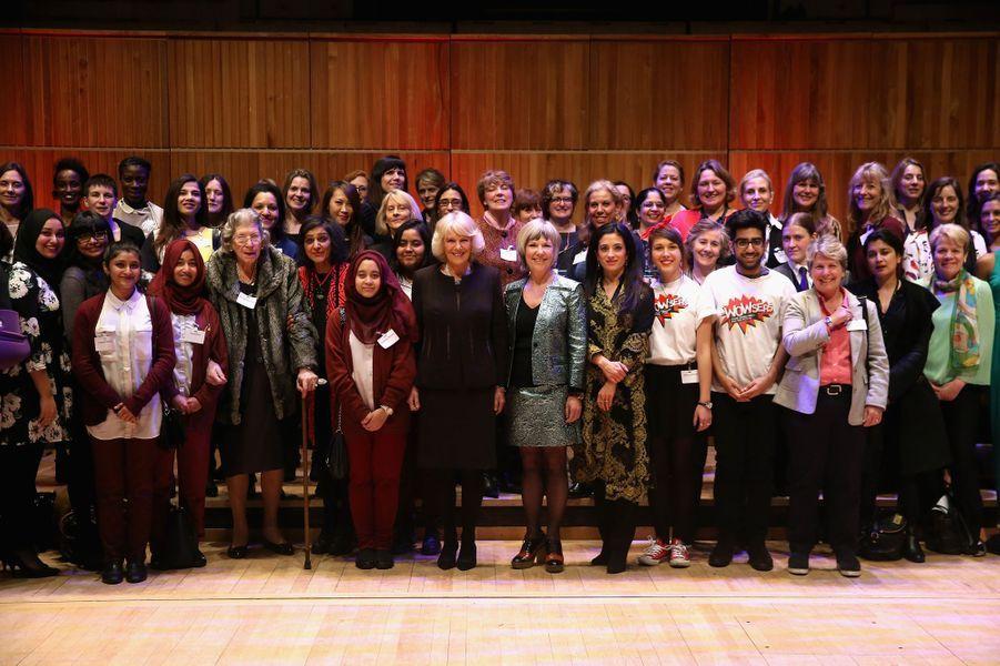 Camilla Parker-Bowles lors de la soirée donnée dans le cadre du prochain festival «The Women of the world» à Londres, le 16 février 2015