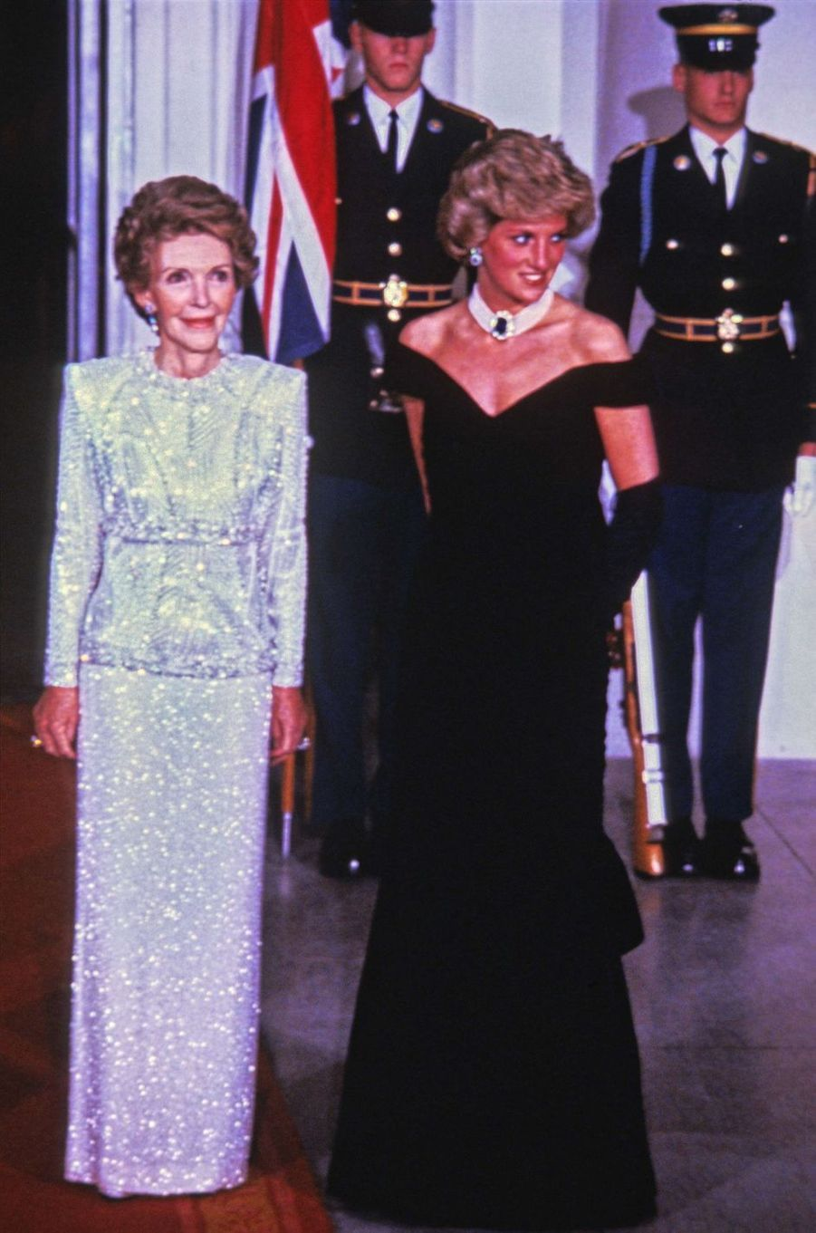 Lady Diana avec Nancy Reagan à Washington, le 9 novembre 1985