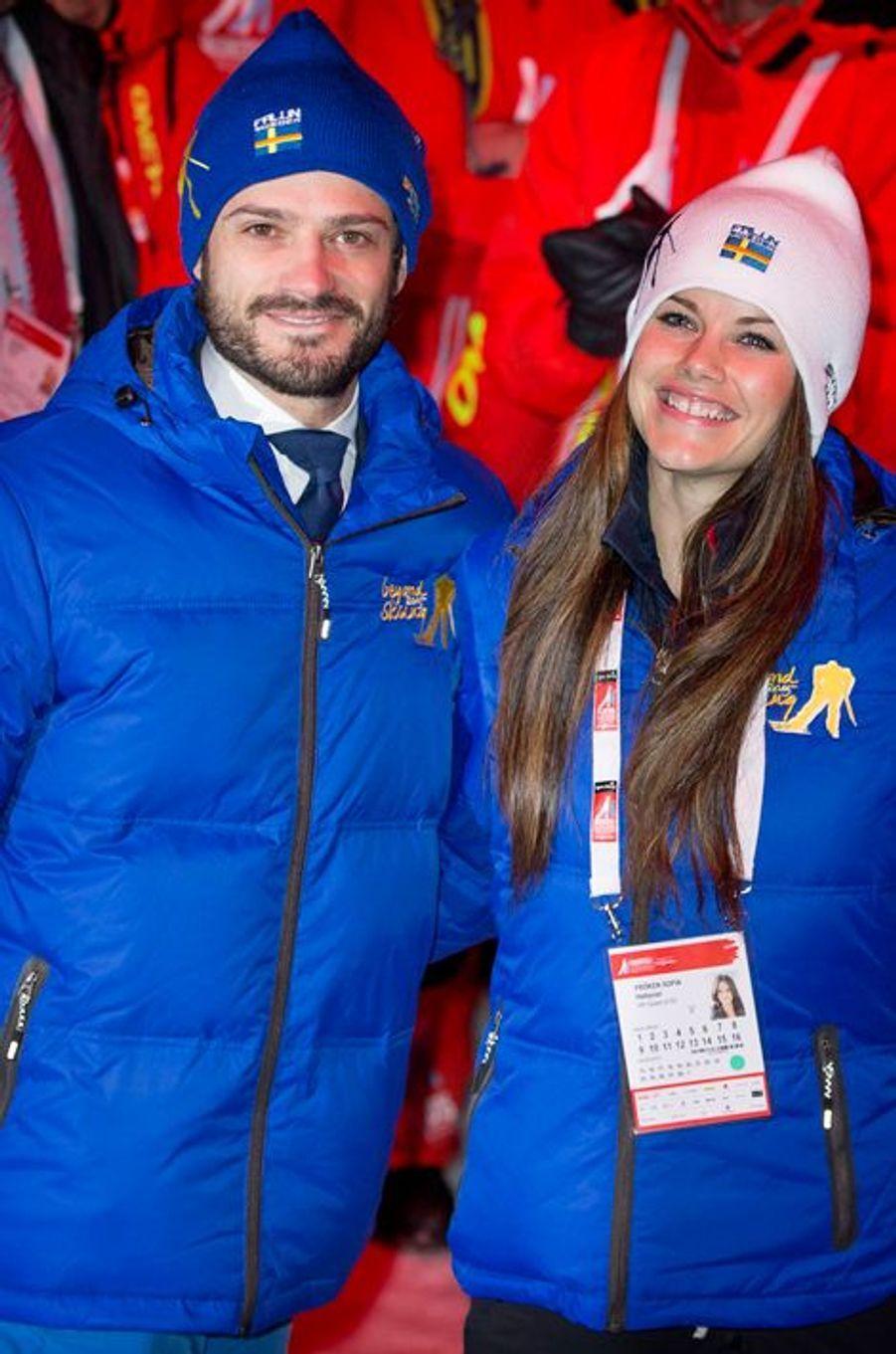 Sofia Hellqvist et le prince Carl Philip à Falun, le 18 février 2015