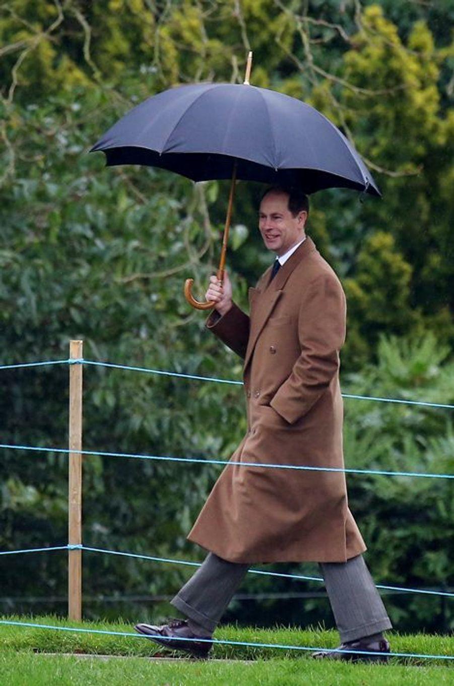 La prince Edward à Sandringham, le 3 janvier 2016