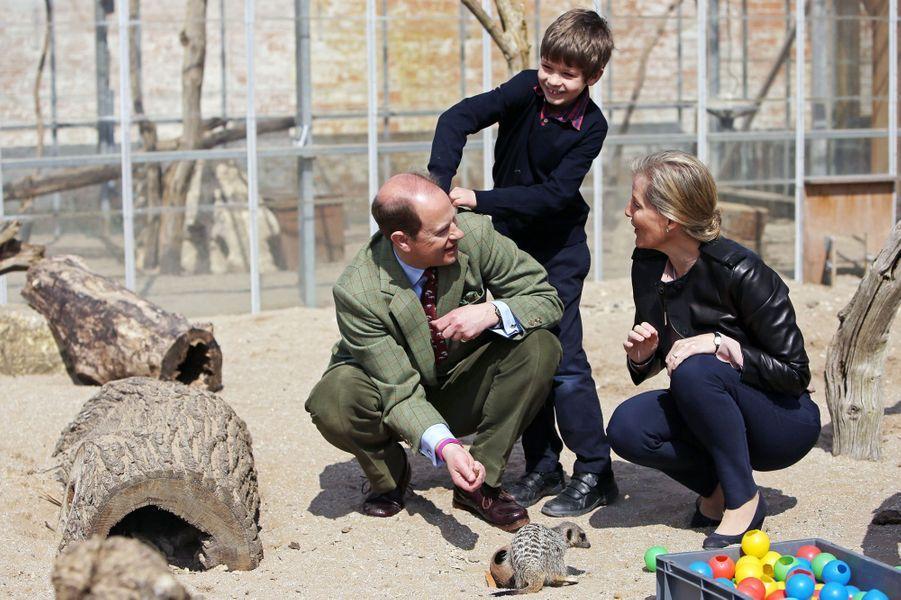Le prince Edward et la comtesse Sophie de Wessex avec leur fils James au zoo de Bristol, le 14 avril 2016