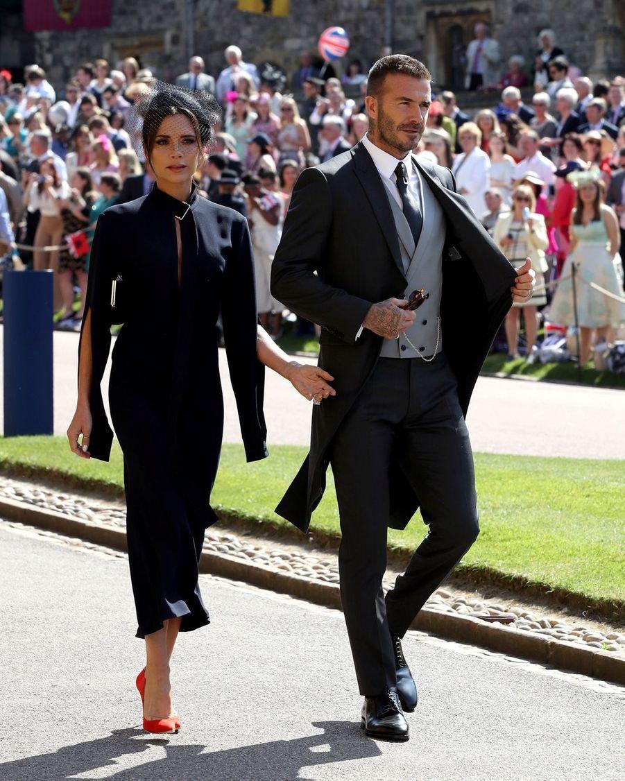 Le couple Victoria et David Beckham au mariage du prince Harry et de Meghan Markle.