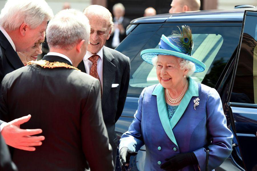 La reine Elizabeth II et le prince Philip à Francfort-sur-le-Main, le 25 juin 2015