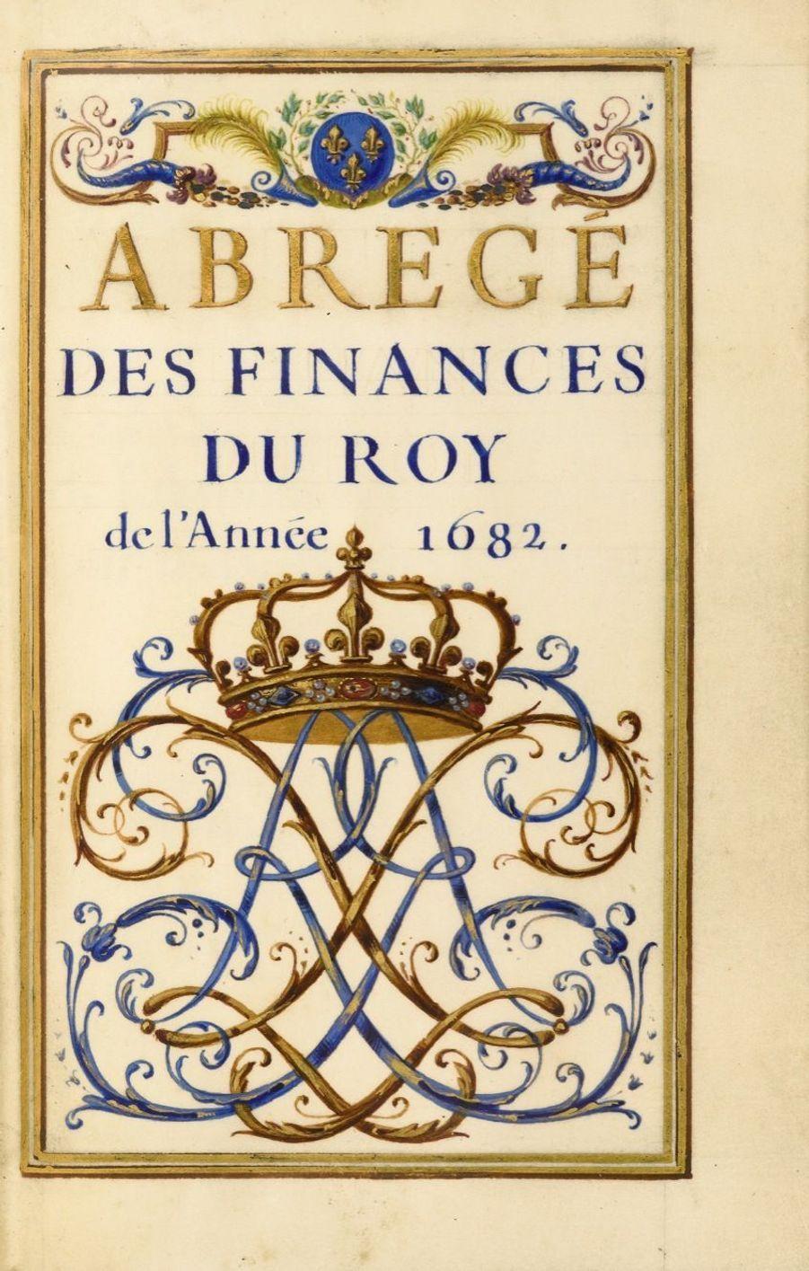 Lot 3 - Abrégé des finances du Roy de l'année 1682 [Versailles?, 1682]  Manuscrit petit de 67 pages calligraphiées et ornementées  Estimation...