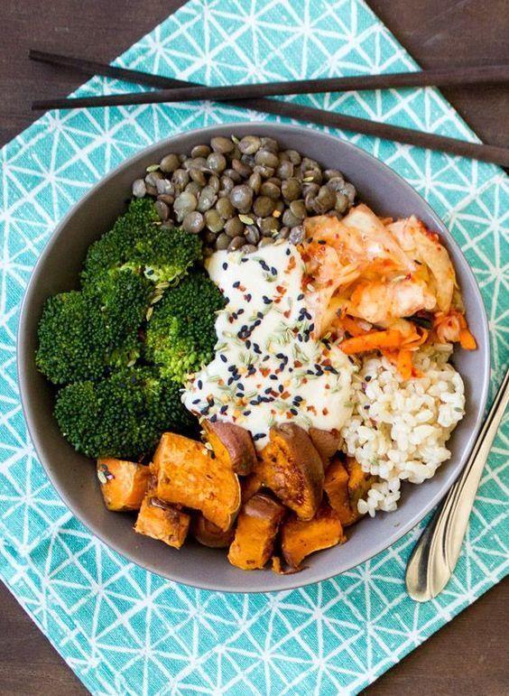 Buddha Bowl alliant légumes et protéines (voir l'épingle)