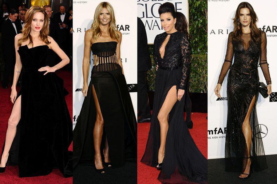 Angelina Jolie, Heidi Klum, Eva Longoria, Alessandra Ambrosio : les stars montrent leurs jambes et craquent pour des robes fendues