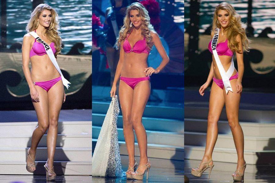 Camille Cerf défile en bikini pendant les répétitions du concours Miss Univers à Miami, le 21 janvier 2015