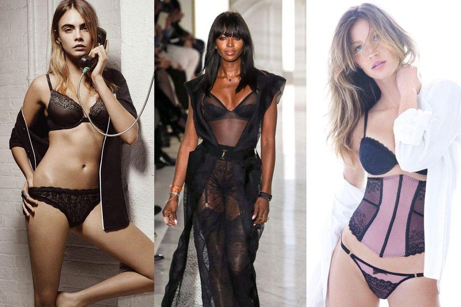 Cara Delevingne, Naomi Campbell, Gisele Bündchen : des égéries de lingeries sexy pour la Saint-Valentin
