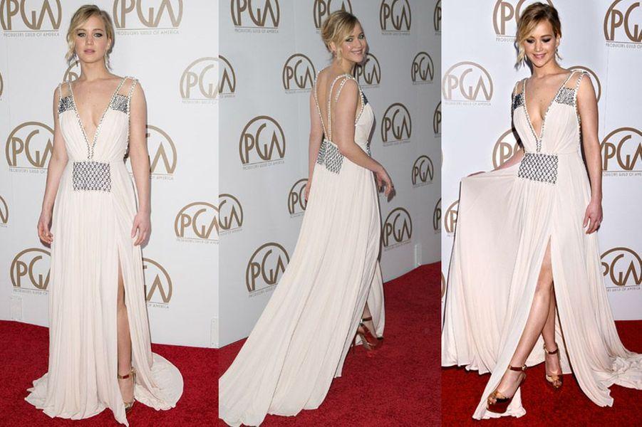 L'actrice Jennifer Lawrence en Prada lors de la cérémonie des Producers Guild Awards à Los Angeles, le 24 janvier 2015