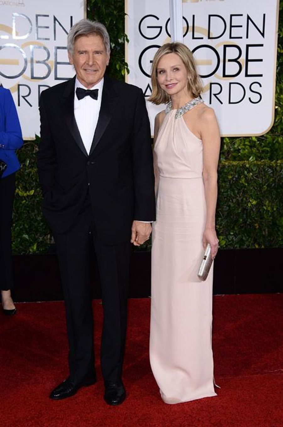 L'actrice Calista Flockhart, compagne de Harisson Ford, lors de la cérémonie des Golden Globes à Los Angeles, le 11 janvier 2015