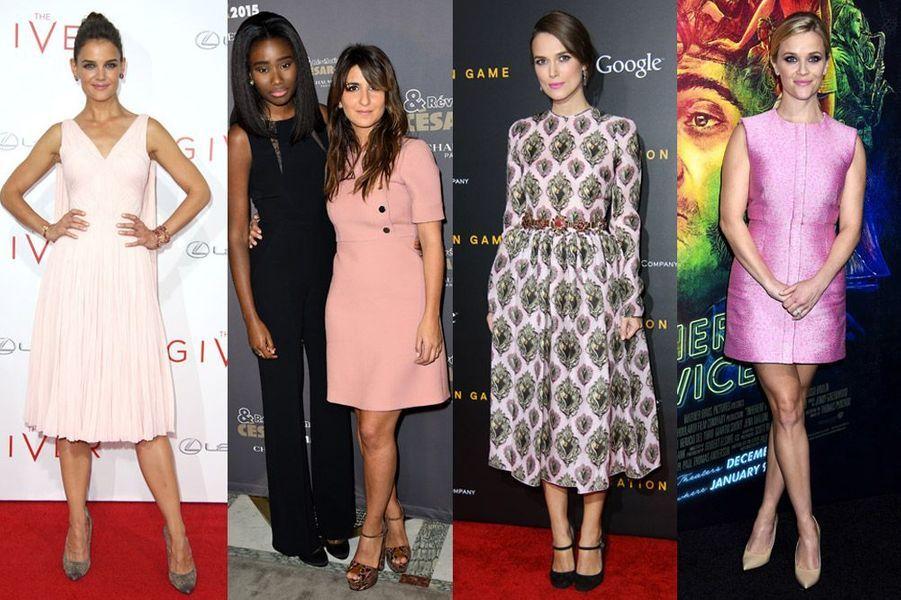 Tendance hiver 2015 : Katie Holmes, Géraldine Nakache, Keira Knightley, Reese Witherspoon : toutes les stars en rose bonbon