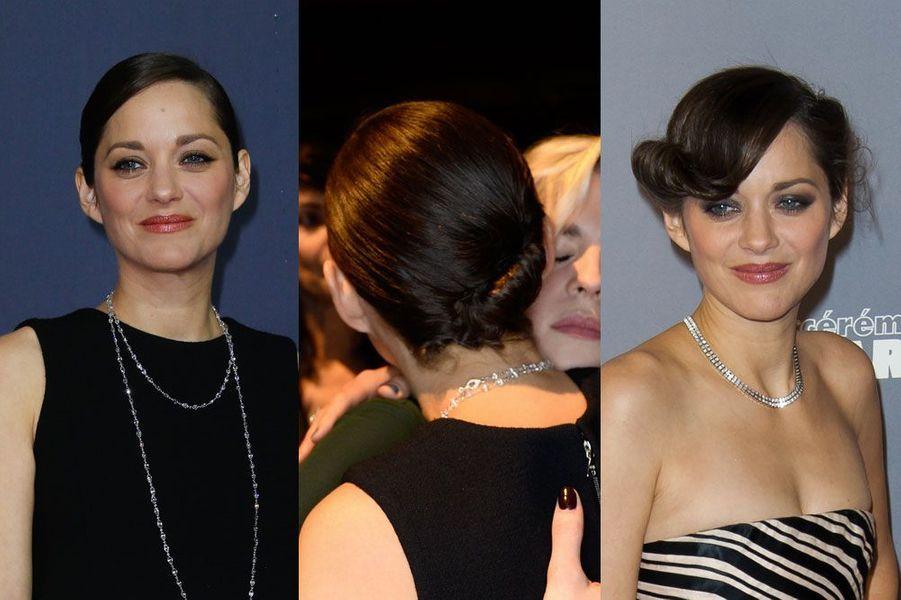 Marion Cotillard lors de la cérémonie des César le 20 février 2015 et en 2013