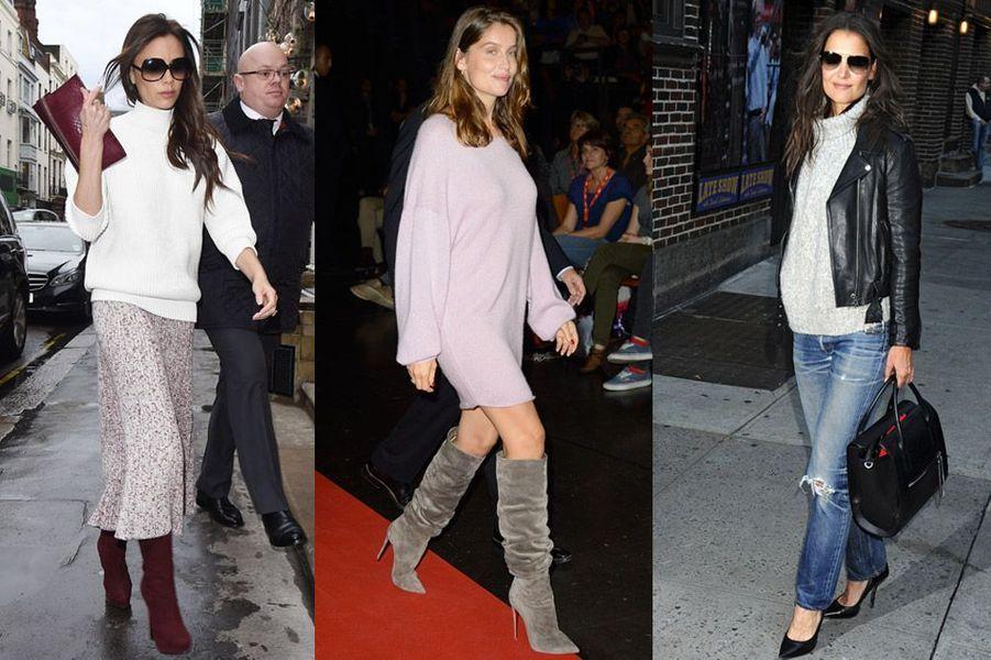 Victoria Beckham, Laetitia Casta, Katie Holmes : pulls de stars à l'heure d'hiver
