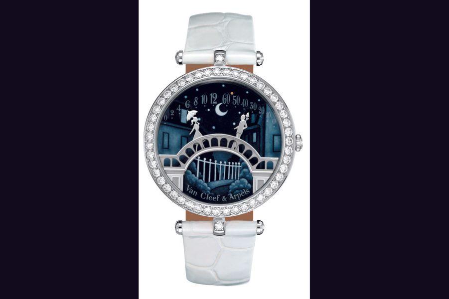 Pont des Amoureux en or gris, lunette sertie de diamants, cadran en émail contre-jour, mouvement à remontage manuel, bracelet en alligator. Van Cleef and Arpels.