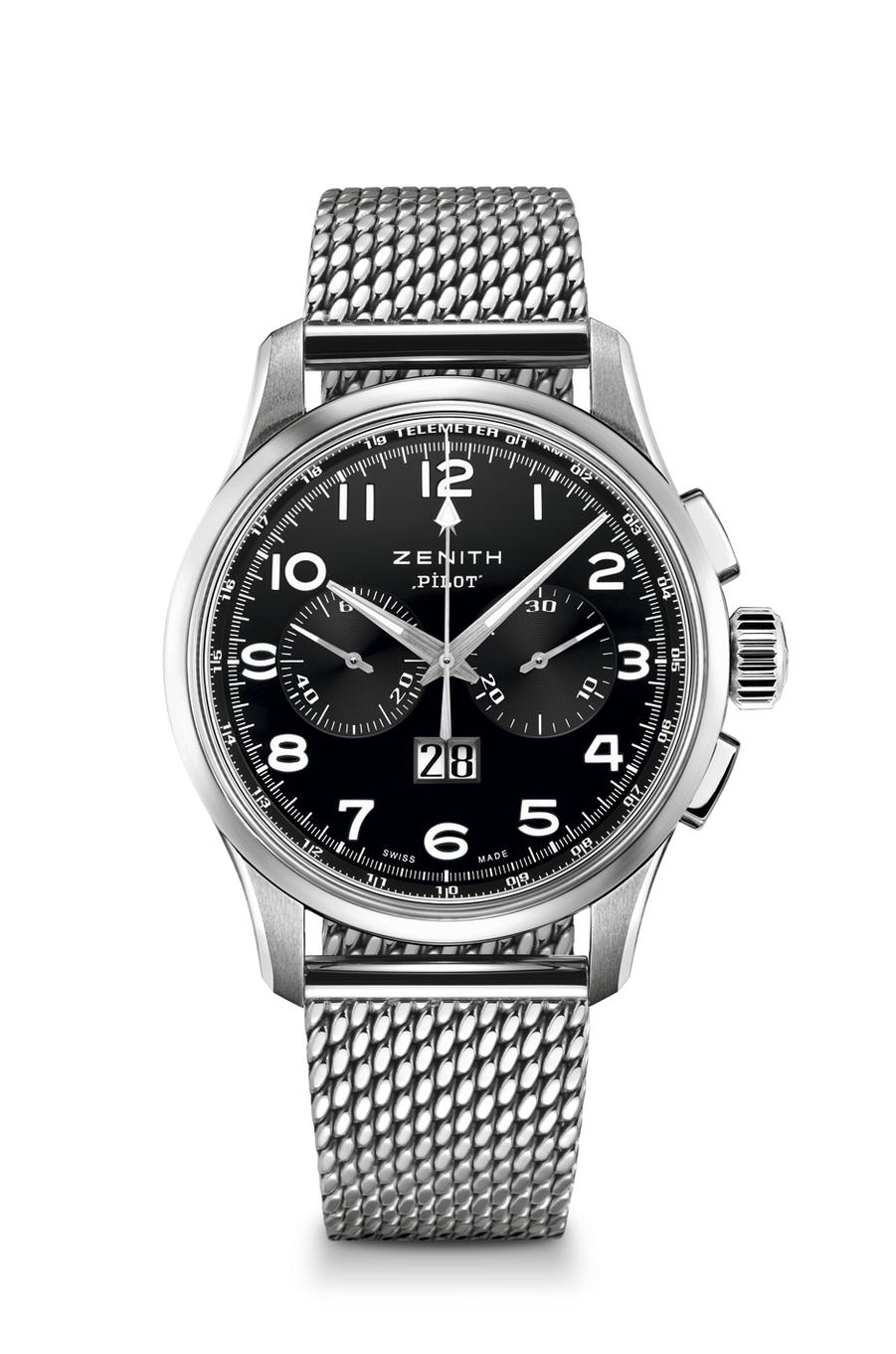 El Primero en acier, 42 mm de diamètre, mouvement chronographe automatique avec Grande Date, 7 400 €. Zenith.