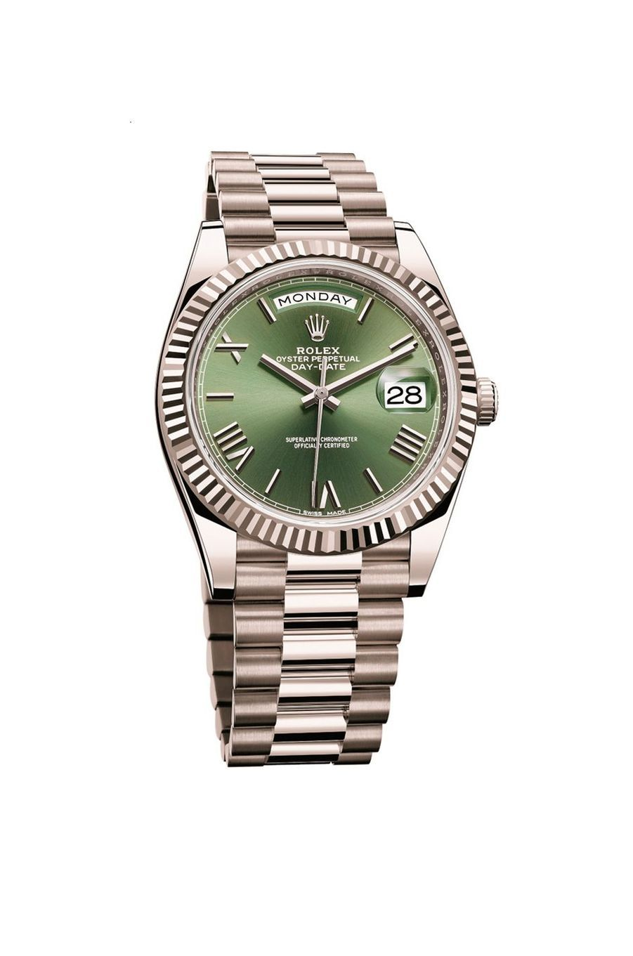 Oyster Perpetual en or gris, 40 mm de diamètre, mouvement automatique, bracelet en or gris, 34 400 €. Rolex.